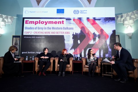 """Panel 2 """"Exiting the Shadows: From Undeclared to Declared Work"""" of the Regional Conference marking beginning of the Phase two of the Employment and Social Affairs Platform Project - ESAP 2, in Sarajevo on 28 January 2020 (Photo: RCC/Armin Durgut)"""