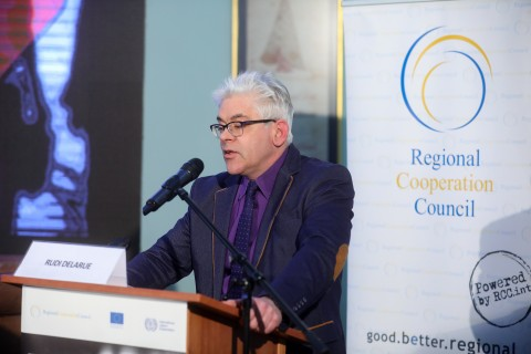 Concluding remarks of Rudi Delarue, Deputy Head of Unit, DG Employment, Social Affairs, and Inclusion at the Regional Conference marking beginning of the Phase two of the RCC-ILO Employment and Social Affairs Platform Project - ESAP 2, in Sarajevo on 28 January 2020 (Photo: RCC/Armin Durgut)