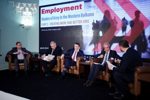 "Panel 1 ""Creating more and better jobs in the Western Balkans – what did ESAP contribute?"" of the Regional Conference marking beginning of the Phase two of the RCC-ILO Employment and Social Affairs Platform Project - ESAP 2, in Sarajevo on 28 January 2020 (Photo: RCC/Armin Durgut)"